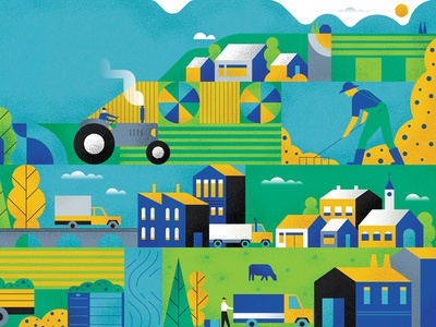 Working The Land vector truck character cow town crop mountains fields tactor farming farm