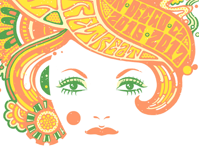 Flower Power woman psychedelic flower typography vintage retro graphic vector character illustration