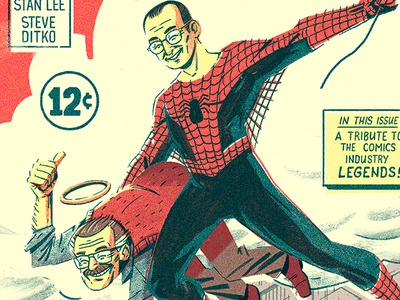 Steve & Stan comic art spiderman typography vintage retro graphic texture character illustration