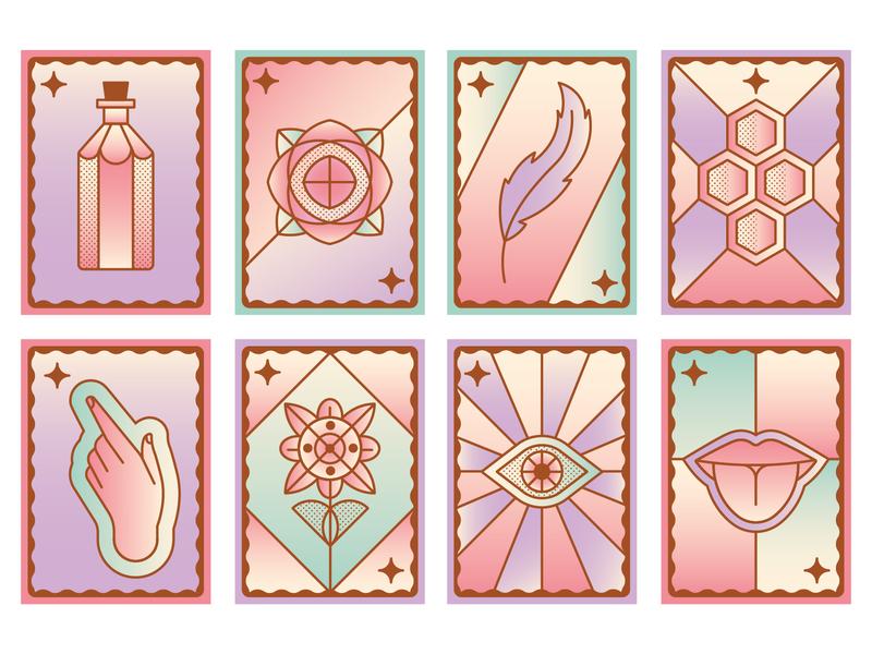 Sensorium bottle flower hand eye tongue feather gradient icon vector illustration icon