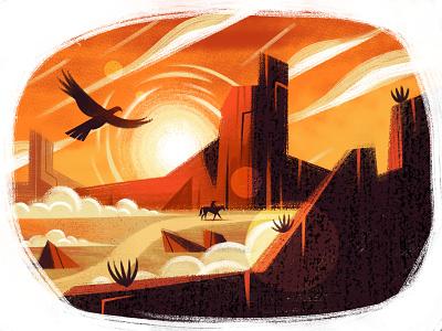 Lone Ranger western cowboy ranger bird horse scenery mountain desert drawing character illustration