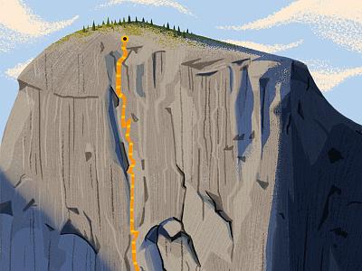 El Capitan nature mountain climbing digital painting design editorial vintage retro graphic drawing texture illustration