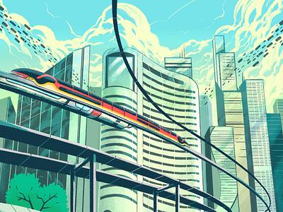 Smart Cities building train smart cities magazine editorial transport future city texture illustration