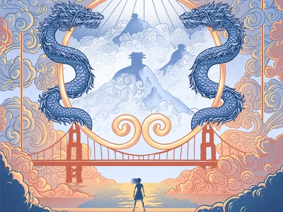 The Epic Crush of Genie Lo ornamental decoration chinese hills mountains water clouds bridge dragons golden gate bridge