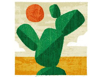 Cactus landscape desert abstract drawing design vintage retro flat graphic vector texture illustration