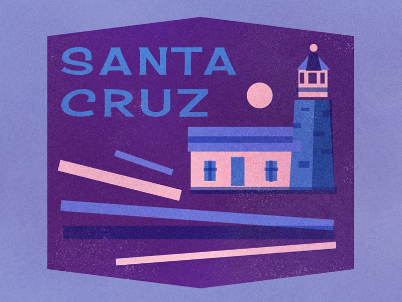 Santa Cruz retro sun texture vintage waves travel sticker badge lighthouse