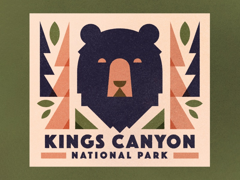 Kings Canyon leaves trees bear kings canyon texture retro vitnage travel sticker badge