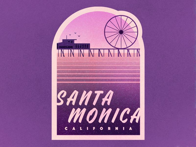 Santa Monica wheel pier waves ocean santa monica vintage retro trip travel sticker badge