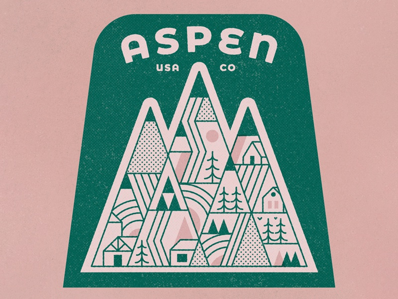 Aspen texture ski snow aspen vintage retro sticker badge travel