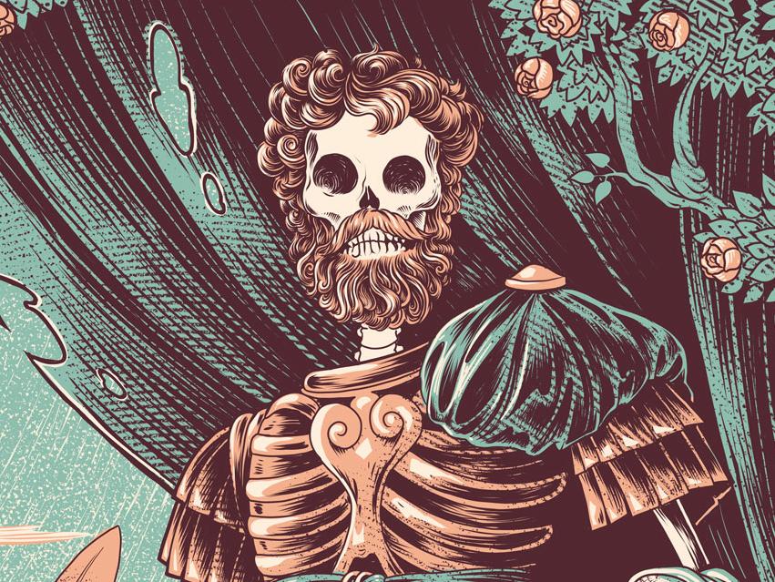 Marcus Aurelius emperor scroll roman skeleton skull drawing character illustration