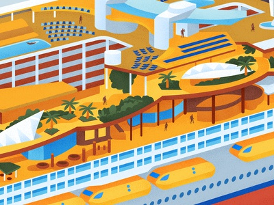 Harmony of the Seas big vacation boat flat design editorial retro graphic drawing vector texture illustration