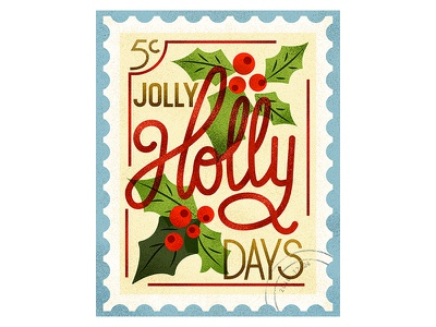 Holly Days! xmas stamp lettering typography design vintage retro flat graphic vector texture illustration