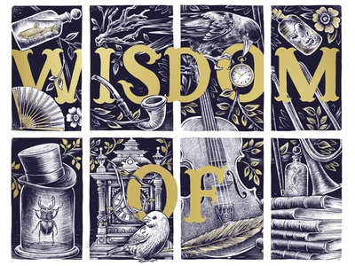 The Wisdom of Bones antiques shop window lettering typography publishing design vintage drawing illustration