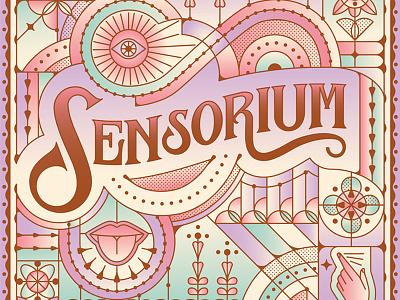 Sensorium eye tongue flower hand vector pastel lettering type label