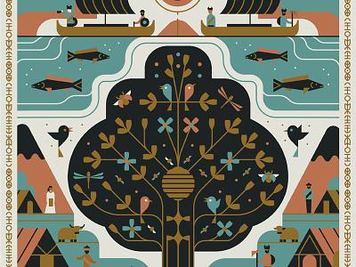 ODIN bird viking ship character fish tree flat graphic illustration