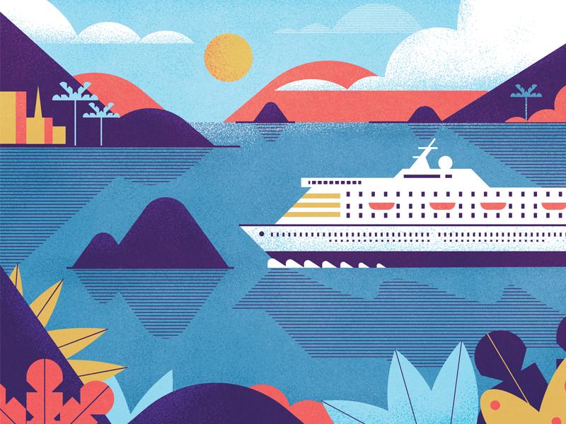 Travel Tips texture ship boat plants sea sun hills ocean travel