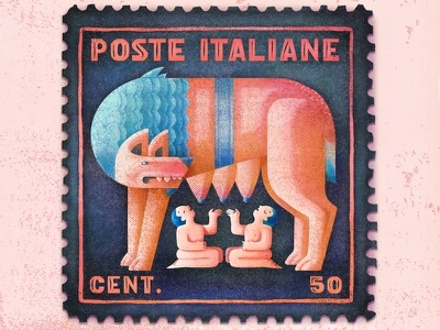 Romulus and Remus mythical italy rome myth stamp character vector illustration