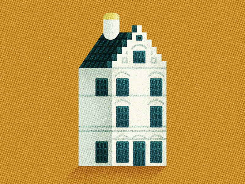 Dutch House ceramics drink house icon design vintage retro flat graphic vector texture illustration
