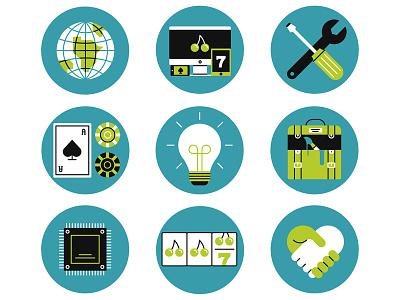 Gaming & Gambling tools idea gamble game logo icon design retro flat graphic vector illustration
