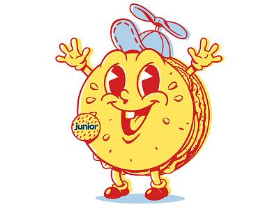 Junior smiley bun badge hatch illustration agency icon hamburger mascot character