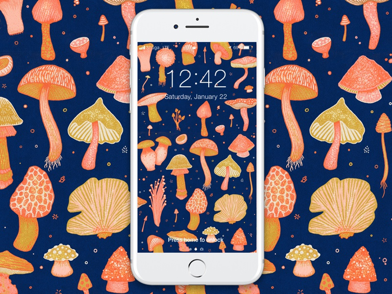 Magical Mushrooms! 🍄 mobile background phone pattern mushroom wallpaper texture drawing illustration