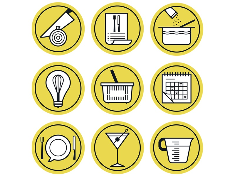The Washington Post recipe food art line logo icon design editorial flat graphic vector illustration