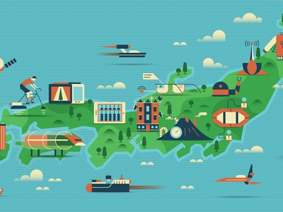 Japan 20XX robot clouds vector train future hills land icons maps