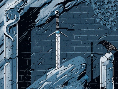 The Sword monochrome fairytale knight medieval sword drawing texture illustration
