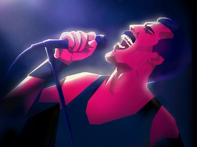 The Great Pretender queen graphic character photoshop microphone portrait freddie mercury drawing texture illustration