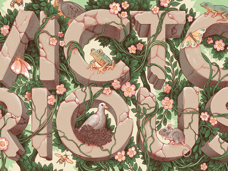 Victorious plants animals retro graphic lettering drawing typography design editorial vintage texture illustration