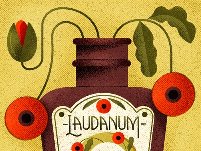 Laudanum typogaphy lettering icon design vintage retro flat drawing graphic vector texture illustration