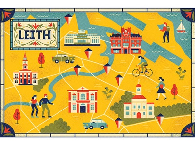 Lonely Planet Leith scotland icons map typography editorial drawing character vector illustration