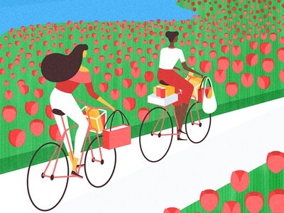 Holland holland bicycle flower tulip editorial flat vector character illustration