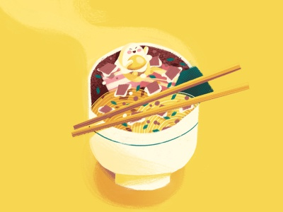 Ramen chop sticks bowl food noodle ramen drawing texture character illustration