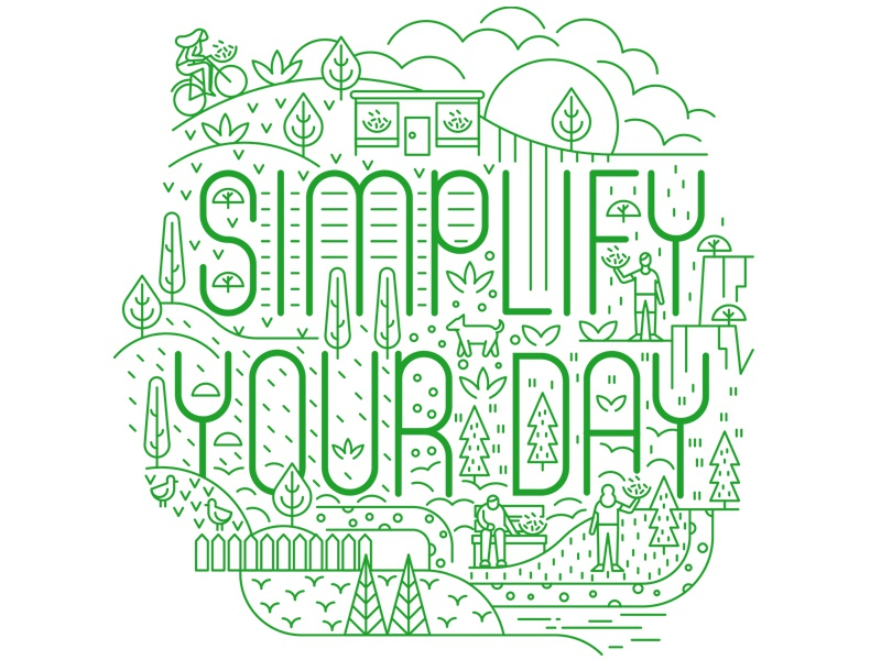 Simply Salad grass nature dogs green character trees typogaphy line art