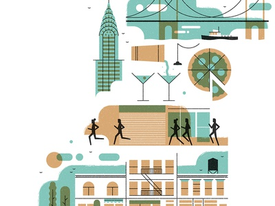 NYC nyc icon design editorial vintage retro flat graphic character vector texture illustration