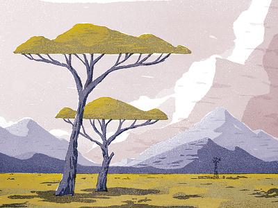 The Karoo texture windmill landscape trees sky mountains vista scene