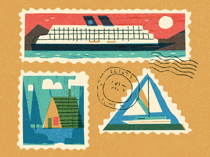 Faraway Places travel stamp icon design editorial vintage retro flat graphic vector texture illustration