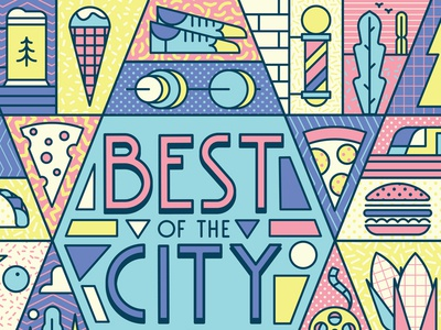 Best of the City weights train ice cream cheese burger pizza cheese shoes pattern typogaphy