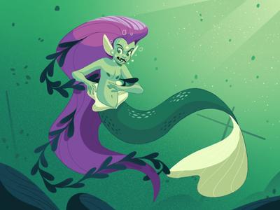 Mermay fish girl hair water tropical mermaid design vintage retro drawing graphic character texture illustration