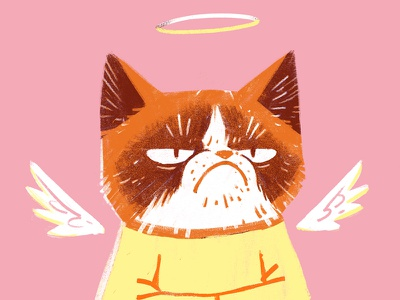 RIP Grumpy Cat portrait angel cat digital painting design retro vintage drawing graphic character texture illustration