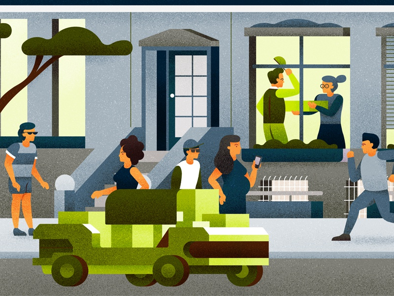 Delivery vector door vehicle tree house people person character