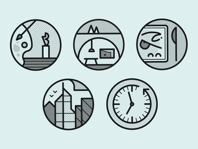 About Town vector trees bunker knife eating architecture gallery art icons set icons