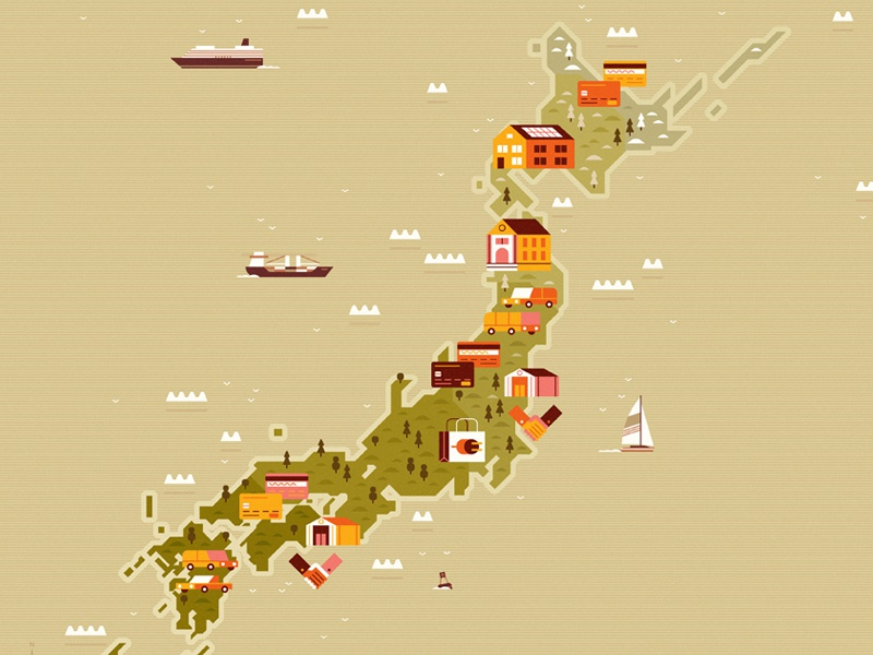 Japan boat map icon design editorial vintage retro flat graphic vector texture illustration