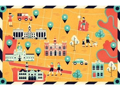 Lonely Planet icon building map editorial flat graphic character texture illustration