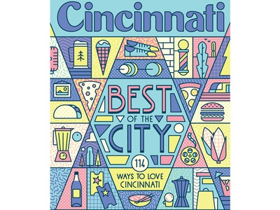 Cincinnati Magazine retro shoes coffee taco beers burger pizza vector icons pattern