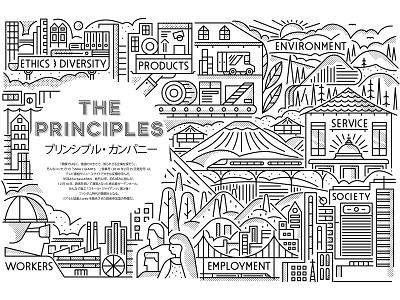 Forbes Japan shading line art factory hills trees building people trains landscape