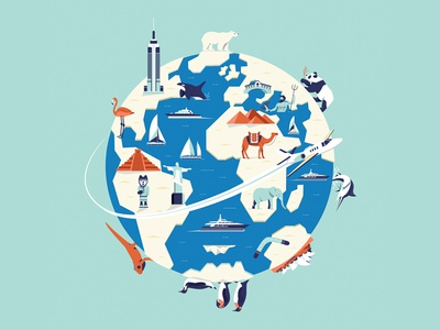 Pursuit globe planet map landmarks earth editorial graphic character vector illustration