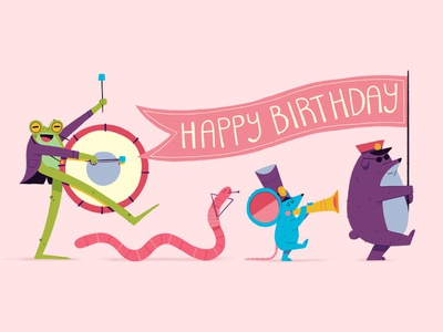 We're 8 years young! graphic character design birthday celebrations animals band marching texture drawing character illustration