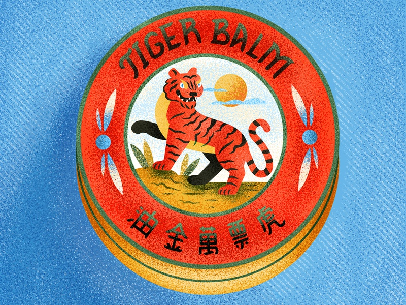 Tiger Balm animals tiger tiger balm typography vintage retro graphic character texture illustration
